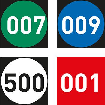 Runde Lageretiketten nummeriert in unterschiedlichen Farben