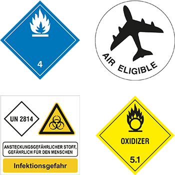 Gefahrgutetiketten zur Kennzeichnung gefährlicher Güter