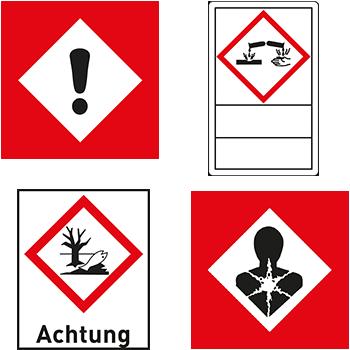 Gefahrstoffetiketten und GHS Symbole mit Signalwort oder Beschriftungsfeld