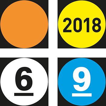 Lageretiketten beschriftbar oder nummeriert in verschiedenen Farben