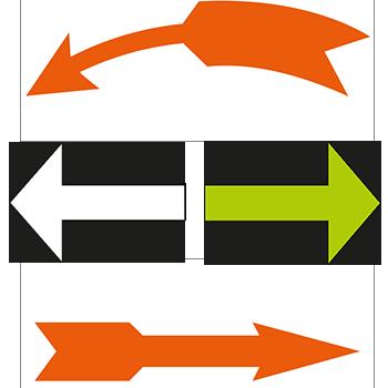 Richtungsweisende Pfeile aus PVC oder Leuchtpapier von DN-Sign