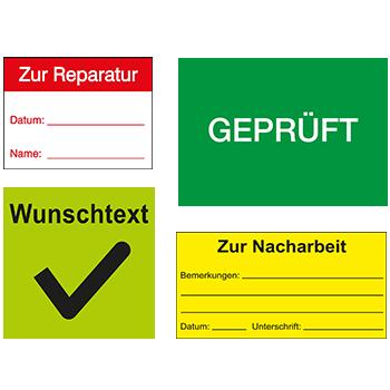 Qualitätssicherungsetiketten in unterschiedlichen Ausführungen