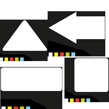 Symbole aus Haftpapier von DN-Sign