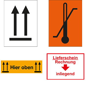 Versandgut und Verpackungsetiketten mit Symbolen oder Hinweisen