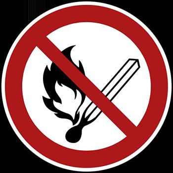 Feuer, offenes Licht und Rauchen verboten | Piktogramme und Sicherheitsschilder