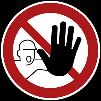 Zutritt für unbefugte verboten | Piktogramme und Sicherheitsschilder