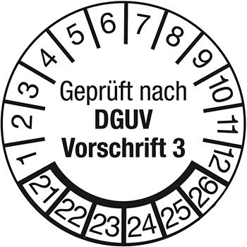 Geprüft nach DGUV Vorschrift 3 | Prüfplaketten