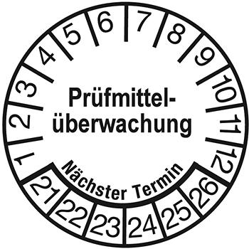 Prüfmittelüberwachung - Nächster Termin (weiß) | Prüfplaketten