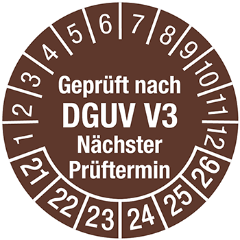 Geprüft nach DGUV V3 (braun) | Prüfplaketten