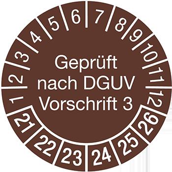 Geprüft nach DGUV Vorschrift 3 (braun) | Prüfplaketten