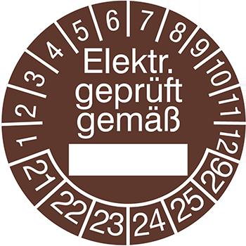 Elekr. geprüft gemäß (ausfüllbar) | Prüfplaketten