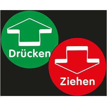 Drücken/Ziehen (Pfeil, Kontur) | Tür und Fensterschilder