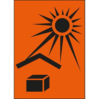 Vor Hitze schützen | Versandgut und Verpackungsetiketten