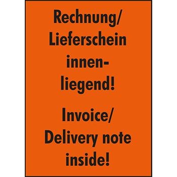 Rechnung/ Lieferschein innenliegend | Versandgut und Verpackungsetiketten